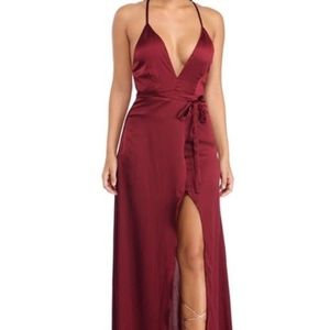 Red Satin Full Length Dress